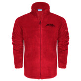Columbia Full Zip Red Fleece Jacket-Official Logo - Stacked