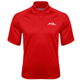 Red Textured Saddle Shoulder Polo-Official Logo - Stacked