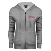 ENZA Ladies Grey Fleece Full Zip Hoodie-Official Logo - Stacked