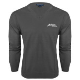 Classic Mens V Neck Charcoal Heather Sweater-Official Logo - Stacked