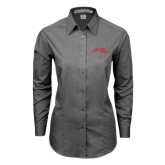 Ladies Grey Tonal Pattern Long Sleeve Shirt-Official Logo - Stacked