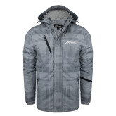 Grey Brushstroke Print Insulated Jacket-Official Logo - Stacked