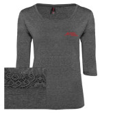 Ladies Charcoal Heather Tri Blend Lace 3/4 Sleeve Tee-Official Logo - Stacked