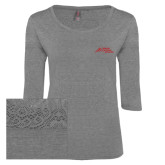 Ladies Grey Heather Tri Blend Lace 3/4 Sleeve Tee-Official Logo - Stacked