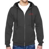 Charcoal Fleece Full Zip Hood-Official Logo - Stacked