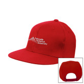 Red Flat Bill Snapback Hat-Official Logo - Stacked