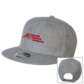 Heather Grey Wool Blend Flat Bill Snapback Hat-Official Logo - Stacked