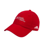 Adidas Red Slouch Unstructured Low Profile Hat-Official Logo - Stacked