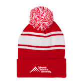 Red/White Two Tone Knit Pom Beanie with Cuff-Official Logo - Stacked