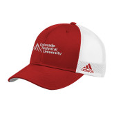 Adidas Red Structured Adjustable Hat-Official Logo - Stacked
