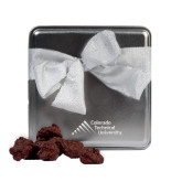 Decadent Chocolate Clusters Silver Medium Tin-Official Logo - Stacked Engraved