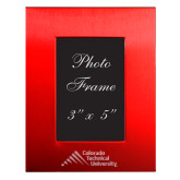 Red Brushed Aluminum 3 x 5 Photo Frame-Official Logo - Stacked Engraved