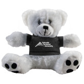 Plush Big Paw 8 1/2 inch White Bear w/Black Shirt-Official Logo - Stacked