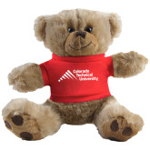 Plush Big Paw 8 1/2 inch Brown Bear w/Red Shirt-Official Logo - Stacked