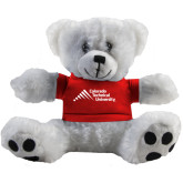 Plush Big Paw 8 1/2 inch White Bear w/Red Shirt-Official Logo - Stacked
