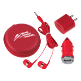 3 in 1 Red Audio Travel Kit-Official Logo - Stacked