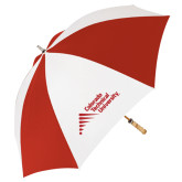 62 Inch Red/White Vented Umbrella-Official Logo - Stacked