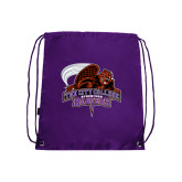 Purple Drawstring Backpack-CCNY Beavers