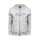 ENZA Ladies White Fleece Full Zip Hoodie-The City College of New York