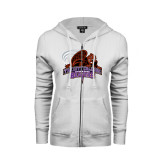 ENZA Ladies White Fleece Full Zip Hoodie-CCNY Beavers