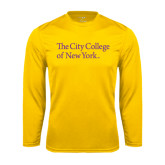 Syntrel Performance Gold Longsleeve Shirt-The City College of New York