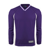 Colorblock V Neck Purple/White Raglan Windshirt-Official Logo