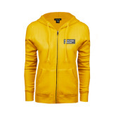 ENZA Ladies Gold Fleece Full Zip Hoodie-Official Logo