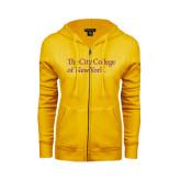 ENZA Ladies Gold Fleece Full Zip Hoodie-The City College of New York