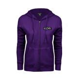 ENZA Ladies Purple Fleece Full Zip Hoodie-CCNY