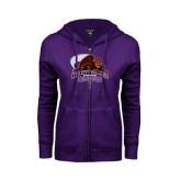 ENZA Ladies Purple Fleece Full Zip Hoodie-CCNY Beavers