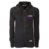 Ladies Under Armour Black Varsity Full Zip Hoodie-CCNY