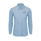 Ladies Light Blue Oxford Shirt-CCNY