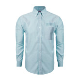 Mens Light Blue Oxford Long Sleeve Shirt-CCNY