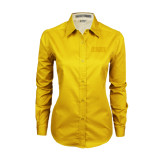 Ladies Gold Twill Button Down Long Sleeve-CCNY