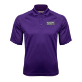 Purple Textured Saddle Shoulder Polo-Official Logo