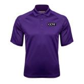 Purple Textured Saddle Shoulder Polo-CCNY