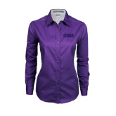 Ladies Purple Twill Button Down Long Sleeve-CCNY