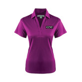 Ladies Purple Performance Fine Jacquard Polo-CCNY