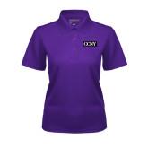 Ladies Purple Dry Mesh Polo-CCNY