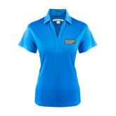 Ladies Light Blue Performance Fine Jacquard Polo-Official Logo