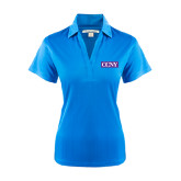 Ladies Light Blue Performance Fine Jacquard Polo-CCNY