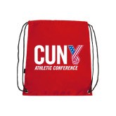 CUNY Athletics Red Drawstring Backpack-Official Logo