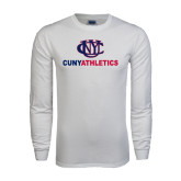 White Long Sleeve T Shirt-CUNY Athletics