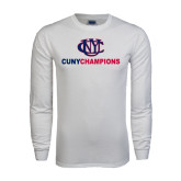 White Long Sleeve T Shirt-CUNY Champions