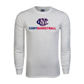 White Long Sleeve T Shirt-CUNY Basketball