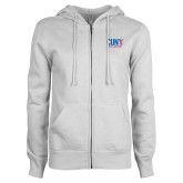 CUNY Athletics ENZA Ladies White Fleece Full Zip Hoodie-CUNY Athletics