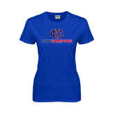 CUNY Athletics Ladies Royal T Shirt-CUNY Champions
