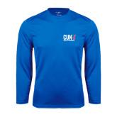 CUNY Athletics Performance Royal Longsleeve Shirt-Official Logo