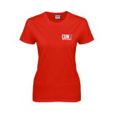 CUNY Athletics Ladies Red T Shirt-Official Logo