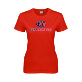 CUNY Athletics Ladies Red T Shirt-CUNY Champions